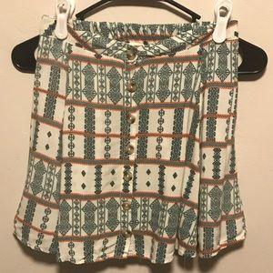 🌻PacSun LA Hearts Mini Skirt Green & Cream